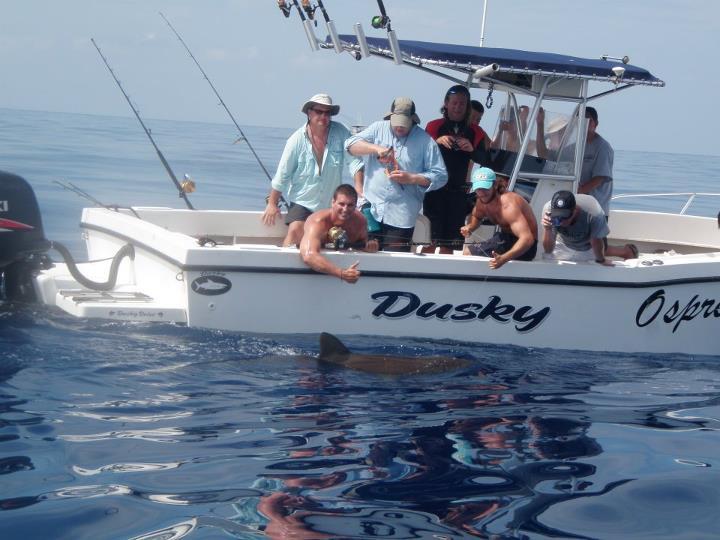 Bringing their catch boatside
