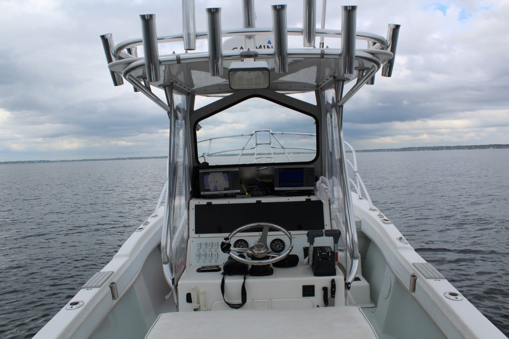 View from the helm of Coastal Charters Sportfishing's Dusky 256