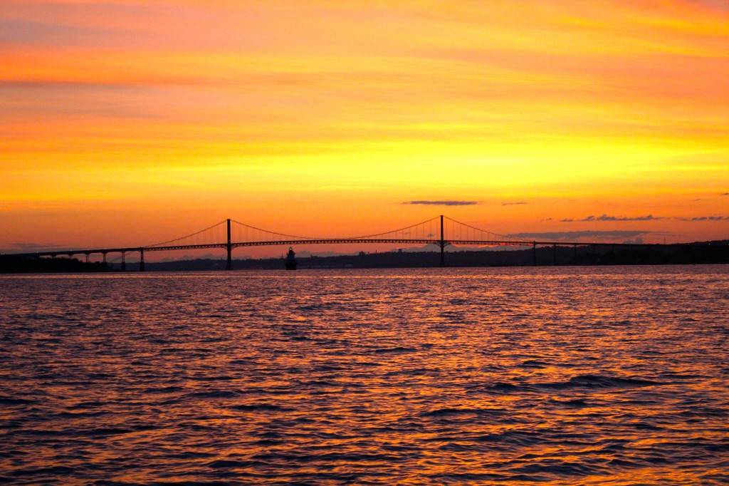 Sunrise over the Mt. Hope Bridge in upper Narragansett Bay, Rhode Island.