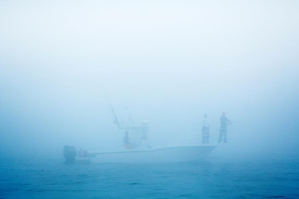Coastal Charters Sportfishing's Dusky 256 shrouded in fog off Cape Cod, MA.